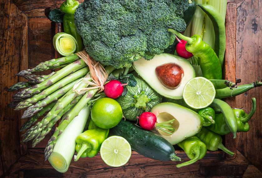 lots of green fruit and vegetables
